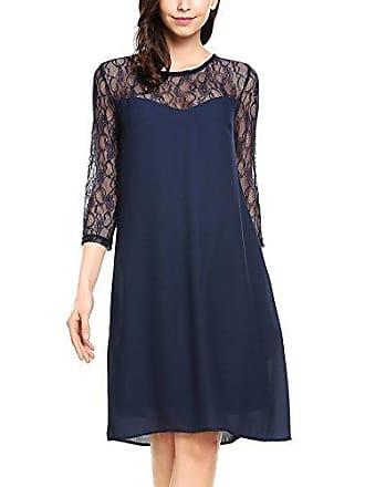 740e746224de8a Zeagoo Damen Chiffon Kleid mit Spitzen Elegant Cocktail Party Abendkleid  Sommerkleider 3/4 Ärmel A