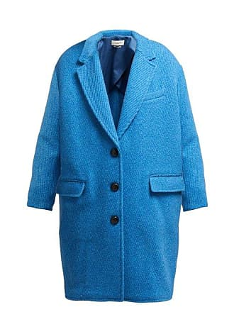 Isabel Marant Gimi Oversized Wool Blend Coat - Womens - Blue