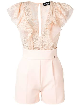 Elisabetta Franchi lace embroidered playsuit - Rosa