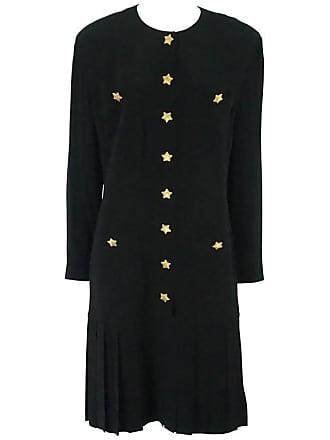 bf6169c58b482 Escada By Margaretha Ley Black Shift Dress With Bottom Pleating-40-80s