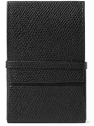 Valextra Pebble-grain Leather Business Card Holder - Black