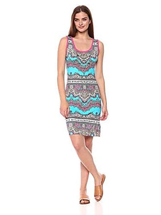 Tribal Womens Sleeveless Dress with Beading, hi Pink, XL