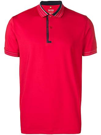 HUGO BOSS Camisa polo com estampa de logo - Vermelho