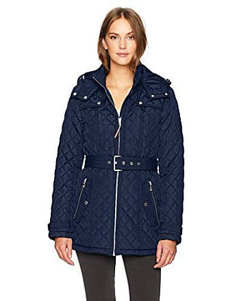 Tommy Hilfiger Womens Zip Front Belted Diamond Quilt Hooded Jacket, Nautical Blue, S