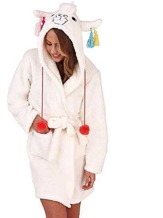 ac6a19aa2f Loungeable Ladies Novelty Hooded 3D Llama Robe Sherpa Fleece Bathrobe  Dressing Gown