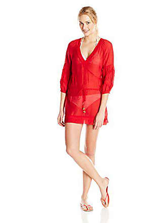 Vix Womens Julie Tunic, Solid Red, Small