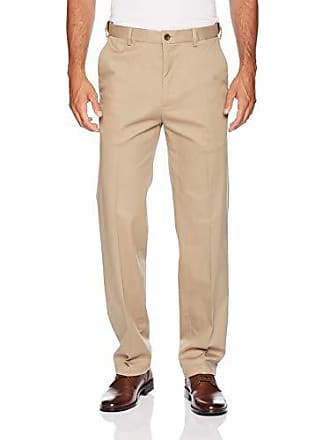 Haggar Mens Work to Weekend PRO Relaxed Fit Flat Front Pant, Khaki, 36Wx31L