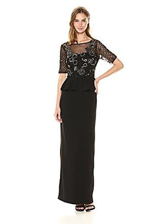 Adrianna Papell Womens Floral Beaded Gown with Peplum and St. Moss Crepe Skirt, Black/Mercury, 10