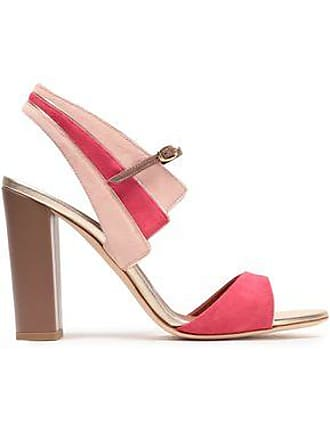 Malone Souliers Malone Souliers Woman Careen Metallic Leather-trimmed Two-tone Suede Sandals Pastel Pink Size 36