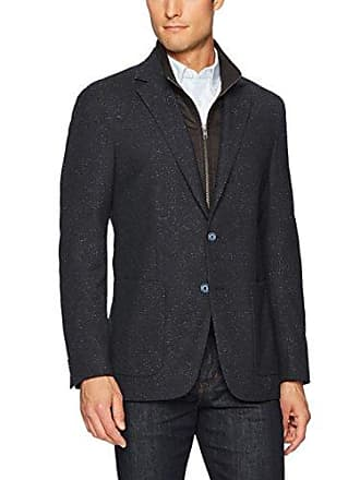 Bugatchi Mens Two Button Donegal Tweed Blazer, Navy, 44