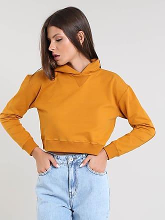 Basics Blusão Feminino Básico Cropped com Capuz em Moletom Caramelo