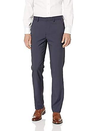 Elie Tahari Mens 4-Way Stretch Cotton Tech Flat Front, Navy Stripe, W38 x L32