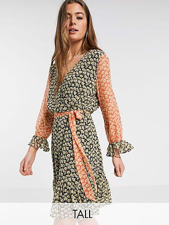 Y.A.S. Tall Daisy 3/4 sleeve mixed ditsy floral dress-Multi