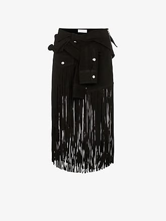Faith Connexion sleeve detail fringed suede skirt