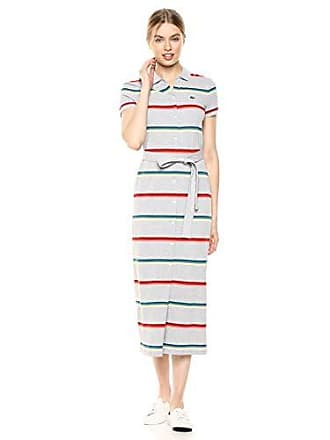 8f1825b0 Lacoste Womens S/S Ribbed Cotton Striped Polo Dress, Silver Chine, 6