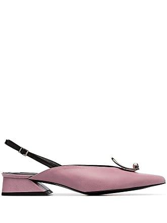Yuul Yie pink Zizi 30 brooch-embellished leather slingback pumps