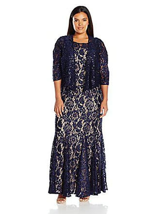 Alex Evenings Womens Plus Size Long Lace Jacket Dress, Navy Nude, 14W