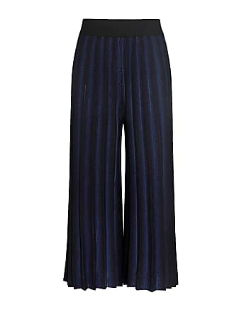 Derek Lam Flared Pleated Knitted Cropped Pants Black/midnight