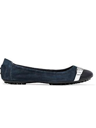 Tod's Tods Woman Metallic And Patent Leather-trimmed Suede Ballet Flats Navy Size 35