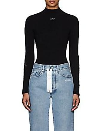bb399908a6 Off-white Womens Distressed Rib-Knit Top - Black Size 46 FR