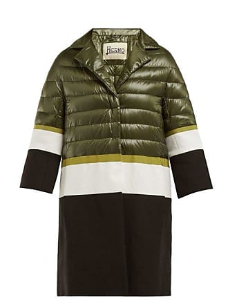 Herno Contrast Panel Quilted Down Filled Coat - Womens - Green White