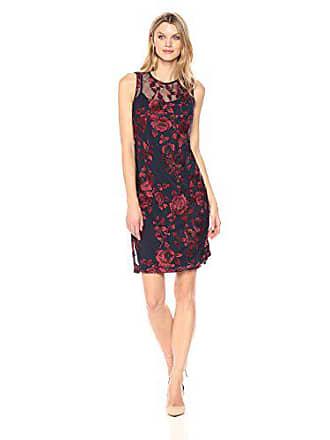 Donna Ricco Womens Embroidered Mesh Sleeveless Dress, Navy/Burgundy, 8