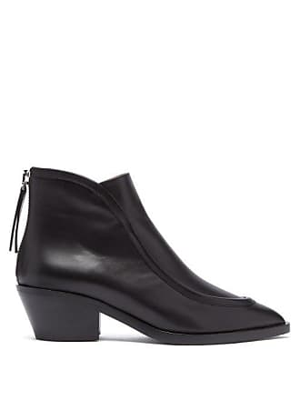 Jil Sander Pointed Toe Western Leather Ankle Boots - Womens - Black