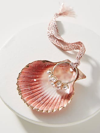 Anthropologie Glass Pearl Ring + Shell Dish