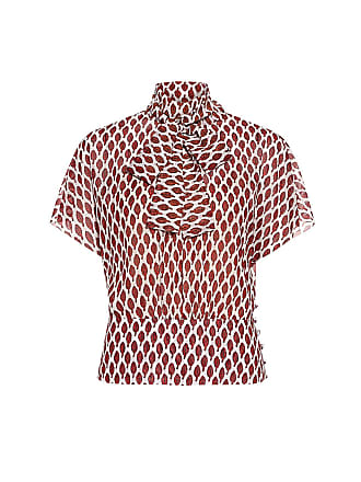 Red Valentino Leaf Print Neck Tie Blouse Amarena