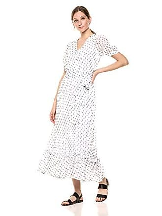 97c3251df14 Calvin Klein Womens Short Sleeve V Neck Maxi Dress with Self-Sash Waist
