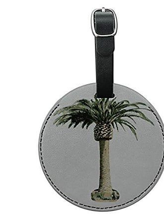 Graphics & More Graphics & More Palm Tree Hawaii Luau Tropical Beach Wedding Shower Round Leather Luggage Id Tag, Black