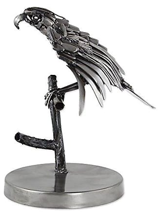 Novica 260390 Mighty Aztec Eagle Upcycled Metal Sculpture, 12.5 Tall