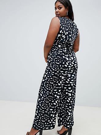56638b7a44ce Yumi Plus jumpsuit in monochrome animal print - Black