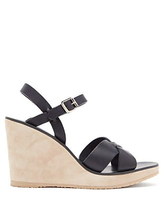 A.P.C. A.p.c. - Juliette Leather Wedge Sandals - Womens - Navy