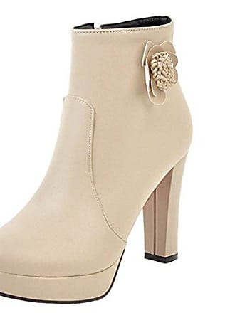 02f41d8697450c UH Damen High Heels Plateau Stiefeletten Ankle Boots mit Blockabsatz und  Blumen Reißverschluss Hochzeit Braut Schuhe