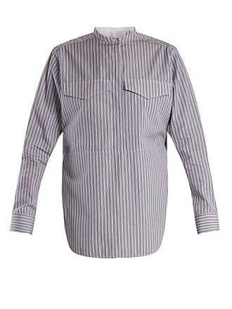 CALVIN KLEIN 205W39NYC Calvin Klein 205w39nyc - Striped Stand Collar Cotton Shirt - Womens - Navy Stripe