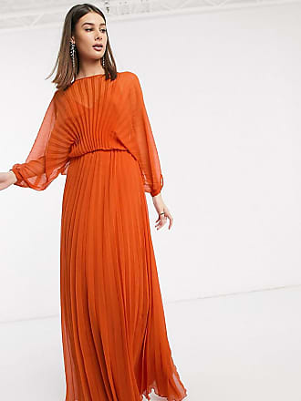 Asos Tall ASOS DESIGN Tall Blouson pleated Maxi dress with self belt-Multi