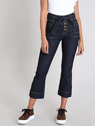Sawary Calça Jeans Feminina Sawary Pantacourt com Faixa para Amarrar Azul Escuro
