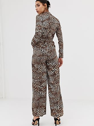 b8cf0f1994bb Prettylittlething knot front shirt jumpsuit in leopard - Brown