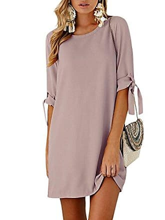5ac8c5e9734617 Yoins Sommerkleid Damen Tshirt Kleid Rundhals Kurzarm Minikleid Kleider  Langes Shirt Lose Tunika mit Bowknot Ärmeln