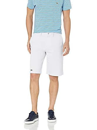 Lacoste Mens Solid Bermuda Gabardine REG FIT Short, White, 32