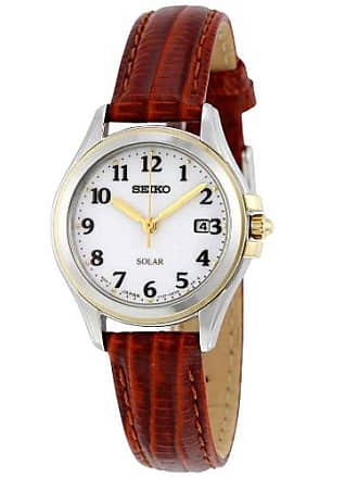 Seiko Core Solar White Dial Brown Leather Ladies Watch SUT252