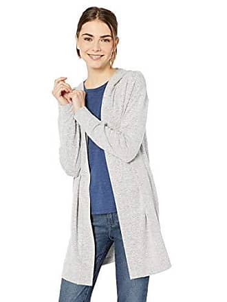 Daily Ritual Womens Cozy Knit Hooded Open Cardigan, Heather Grey, X-Small