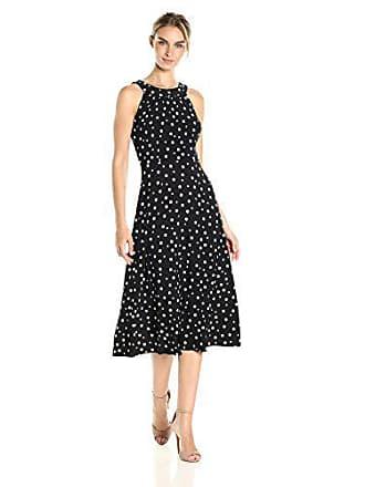 Tommy Hilfiger Womens High Low Dot Jersey Dress, Black/Ivory, 4