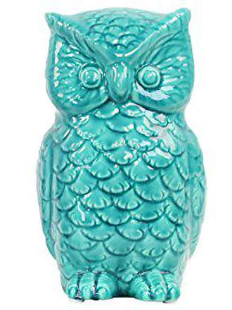 Urban Trends Collection Urban Trends Ceramic Owl Figurine, Gloss Turquoise