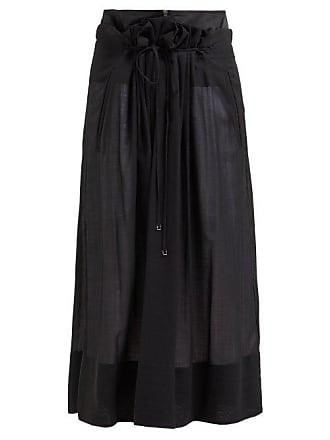 Tibi Gauze Overlay Wool Blend Midi Skirt - Womens - Black