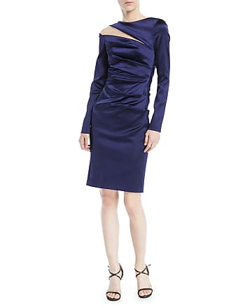 ad47da2fd48 Talbot Runhof Rogue Shoulder-Slit Long-Sleeve Ruched Stretch-Satin Cocktail  Dress