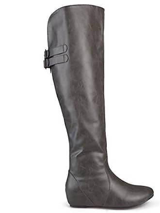 6b5b2311828 Brinley Co Womens Buckle Detail Inside Pocket Faux Leather Boots Grey
