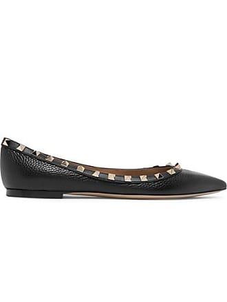 cb9be1faa4ee0 Valentino Valentino Garavani The Rockstud Textured-leather Point-toe Flats  - Black