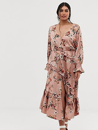 6e6693ab1c8 Lovedrobe button front midaxi dress with blouson sleeve and ruffle skirt in  pink floral